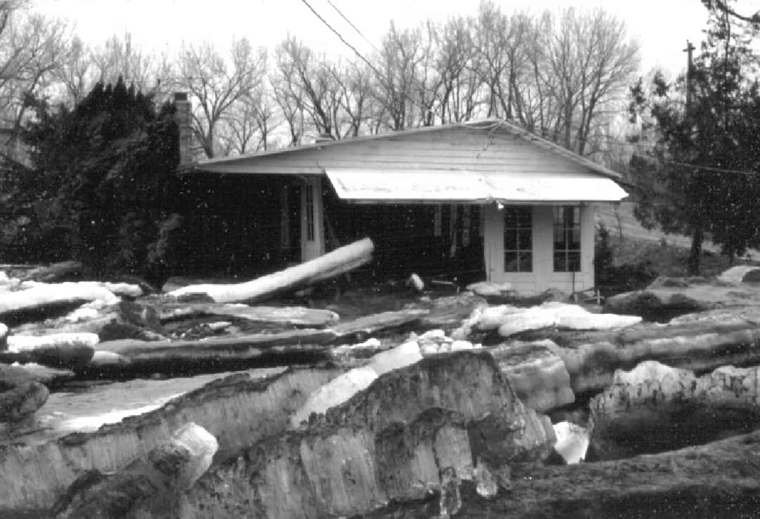 Ice damage on Platte River near Venice, 1978