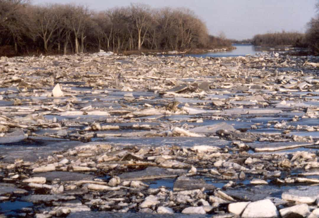 Ice on the Platte River near Columbus, Nebraska