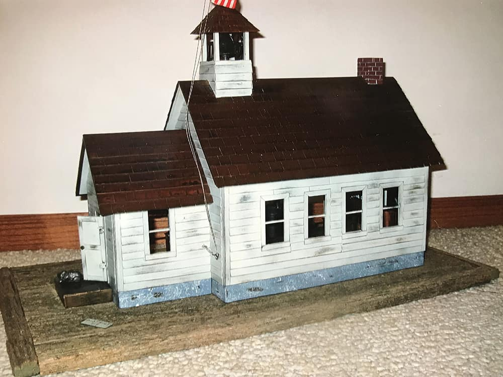 Outside of model of 1930s schoolhouse